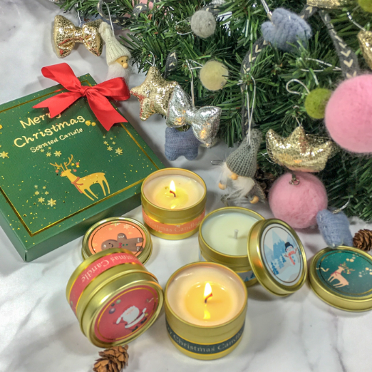 4pk Wholesale UK Christmas scented candles custom private label and packaging