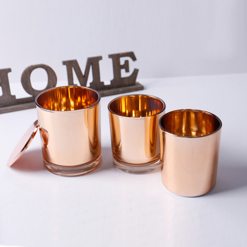 Free samples supply own brand customized wholesale gold glass candle holders for home decor