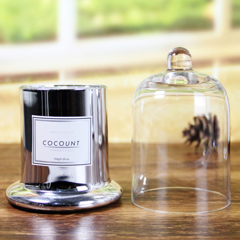 China Candle supplier Wholesale private label luxury scented glass candle with glass cloche