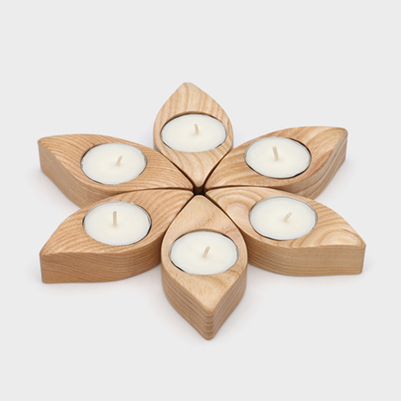Free samples provided wholesale wooden candle holder for home decor