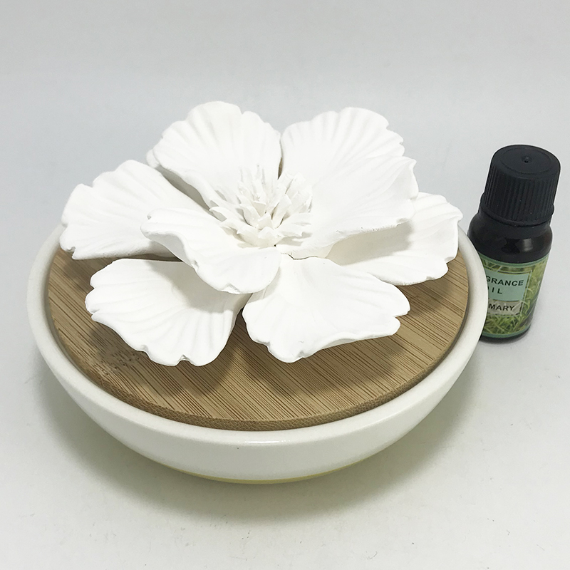 Private label ceramic flower diffuser European with wooden lid