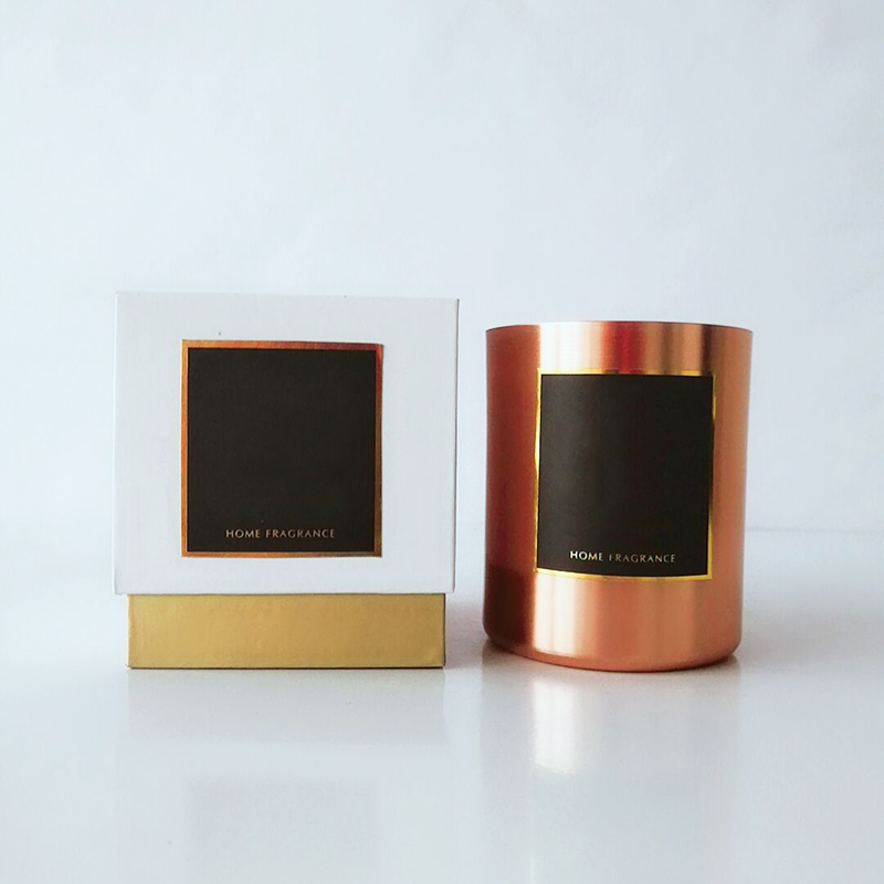 7*8cm luxury metal scented candle France with own designed packaging