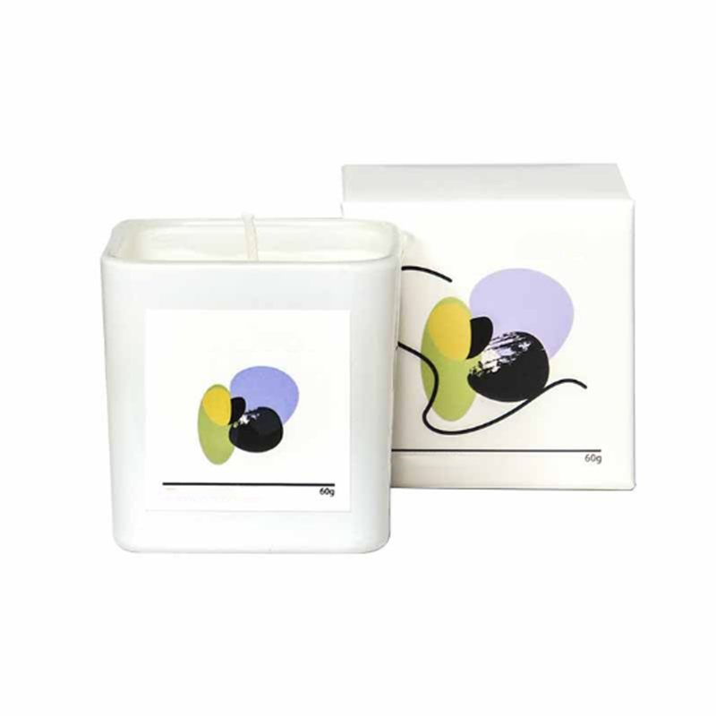 Wholesale UK 60g square glass jar scented wax candles with custom private label sticker and packaging
