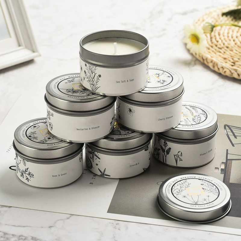 Candle manufacturer private label gray scented travel candle tin customized packaging and label