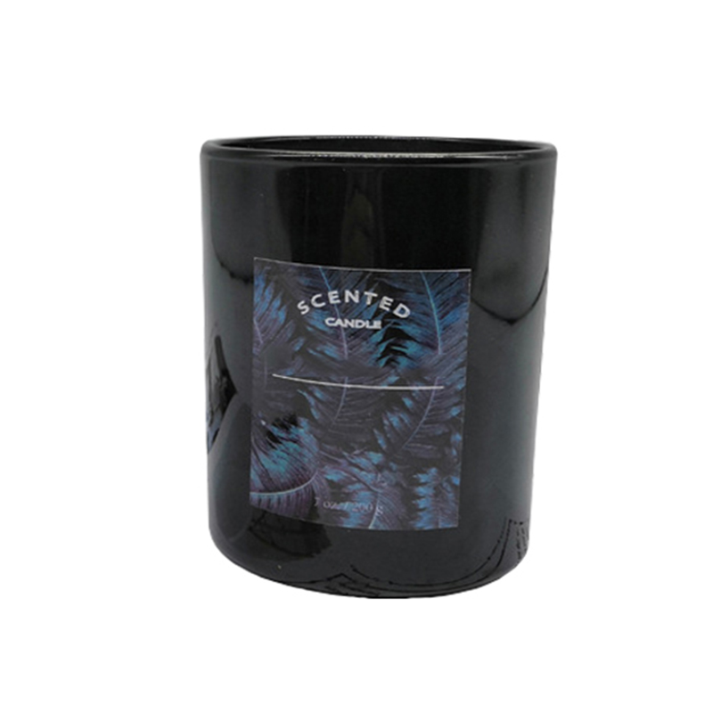 Customized with your brand wholesale Hot selling  black glass scented candle with personalized label and design