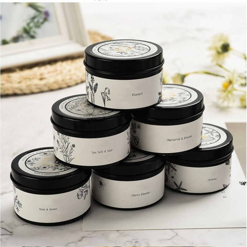 Wholesale personalized hot selling scented black travel candles tins with decal printing and private label
