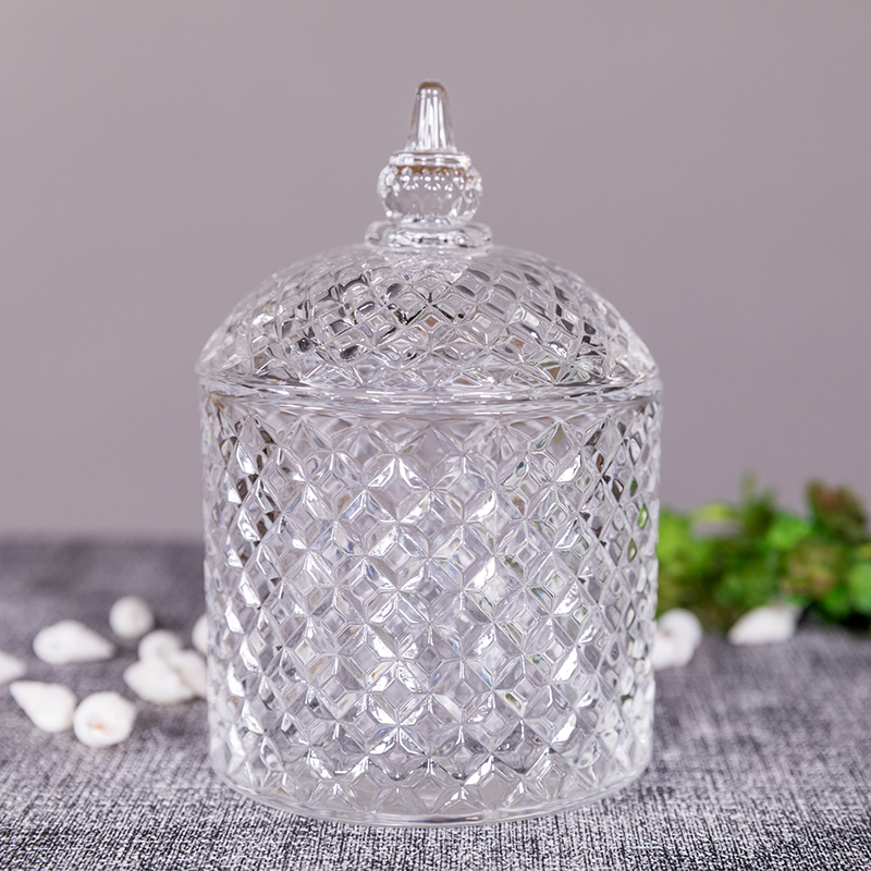 Candle supplier customized glass candle holder vessel personalized with lid in different sizes and colors