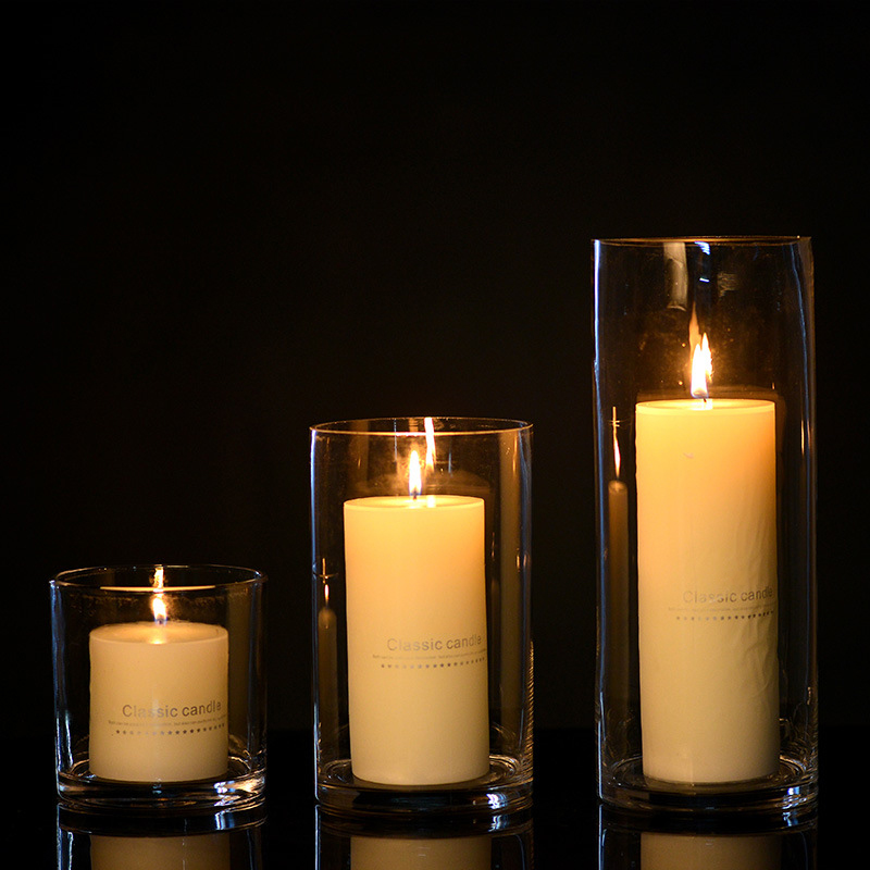Free samples provide private label wholesale pillar candle holders with different sizes for home decor