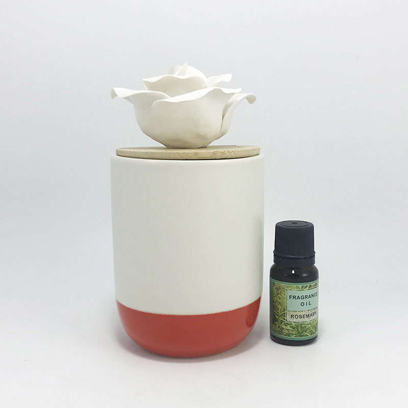 Ceramic flower essential oil aroma diffuser London with wooden lid