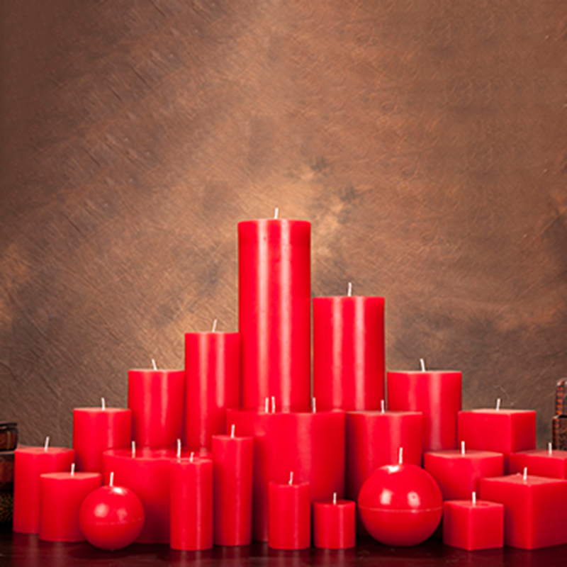 Wholesale hot selling red pillar candles with personalize label and design